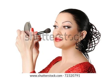 Beautiful young woman flamenco style face make-up on withe background - stock photo