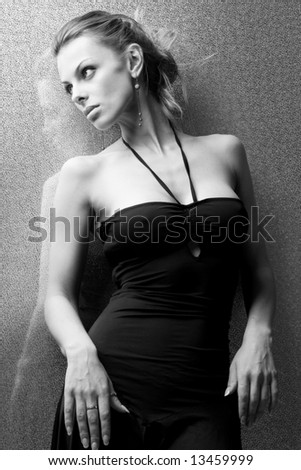 Beautiful Young Woman Front Bright Background - stock photo