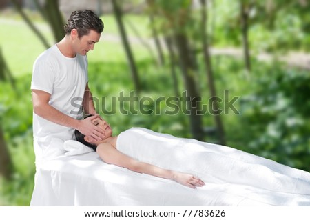 Beautiful young woman getting a face massage by a handsome man - stock photo