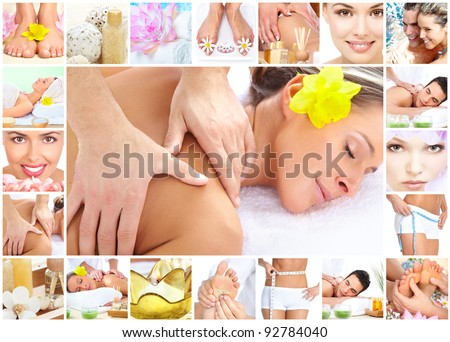Beautiful young woman getting spa massage. Body care. - stock photo