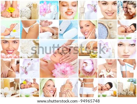 Beautiful young woman getting spa massage. Body care. - stock photo