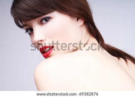 beautiful young woman - glamour portrait with naked shoulders - stock photo