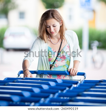 Beautiful young woman going shopping for groceries (color toned image) - stock photo