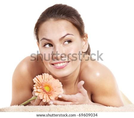 Beautiful young woman having massage. - stock photo
