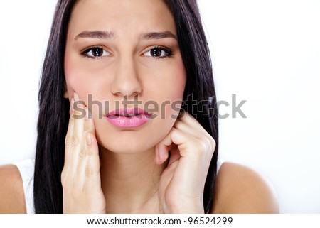 beautiful  young woman having tooth pain - stock photo