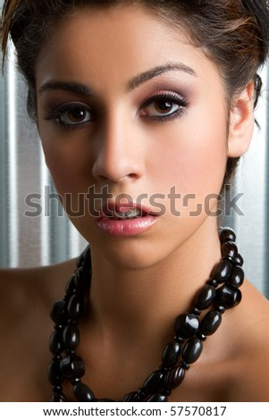 Beautiful young woman headshot closeup - stock photo