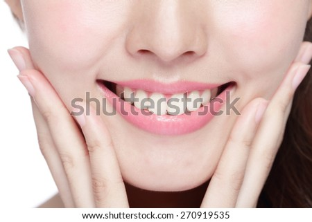 Beautiful young woman health teeth close up and charming smile. Isolated over white background, asian beauty
