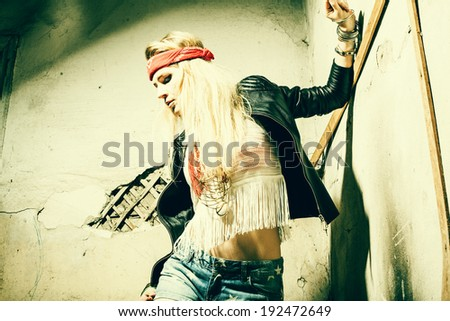 Beautiful young woman hippie wearing sunglasses  - stock photo