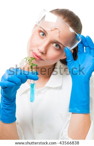 Beautiful young woman hold tube with plant in it, isolated