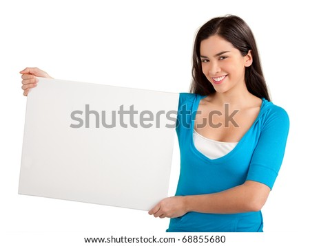 Beautiful Young Woman Holding a Blank Sign - stock photo