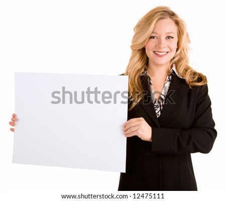 Beautiful Young Woman Holding a Blank White Sign - stock photo