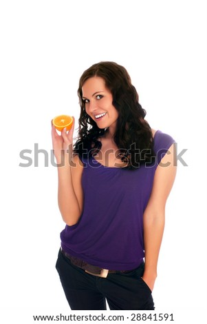 Beautiful young woman holding an orange. Close up