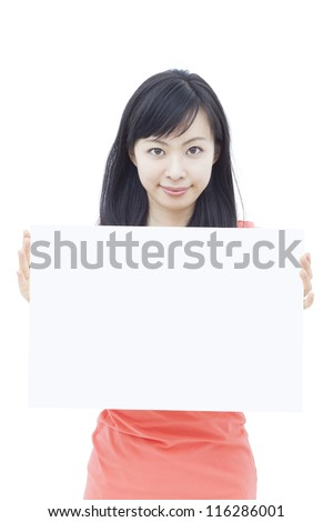 beautiful young woman holding blank billboard, isolated on white background