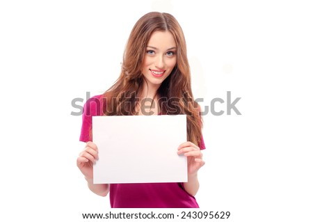 Beautiful young woman holding blank card. Isolated on white background smiling female portrait. - stock photo