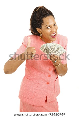 Beautiful young woman holding cash and giving a thumbsup.  Isolated on white. - stock photo