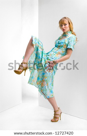 Beautiful Young woman in a flowers dress. In all growth. In the studio