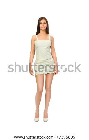 Beautiful young woman in a nice summer dress isolated on white background. - stock photo