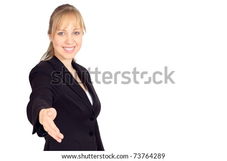 Beautiful young woman in a suit welcoming you - stock photo