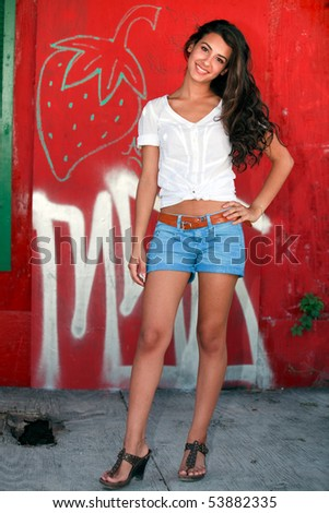Beautiful Young Woman in an outdoor fashion pose - stock photo