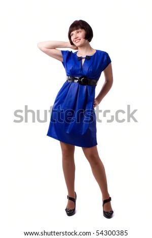 Beautiful young woman in blue long dress. Girl in blue dress portrait. - stock photo