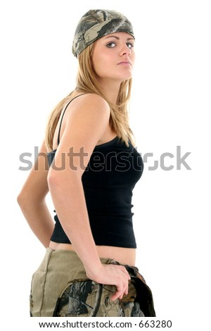 Beautiful young woman in camo rag and tank.  Shot in studio over white.  Stunning eyes and perfect skin. - stock photo