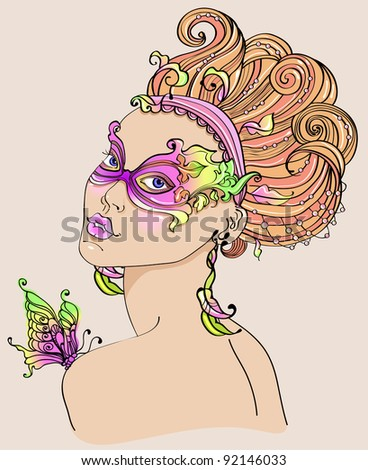 Beautiful young woman in carnival mask, bright illustration - stock photo