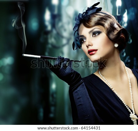 Beautiful Young Woman in Classic Interior - stock photo