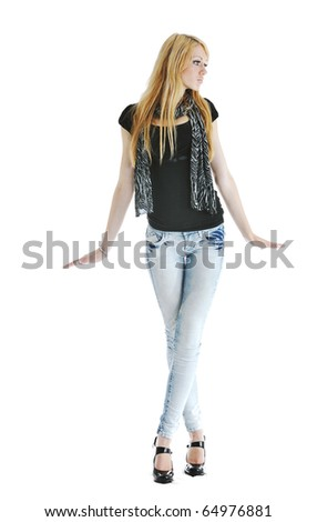 beautiful young woman in fashion clothes isolated on white background - stock photo