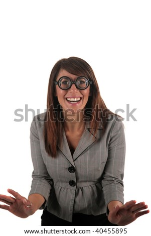 beautiful young woman in funny glasses, isolated on white - stock photo