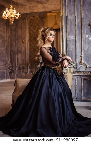 Beautiful Young Woman Gorgeous Black Evening Stock Photo 511980097 ...