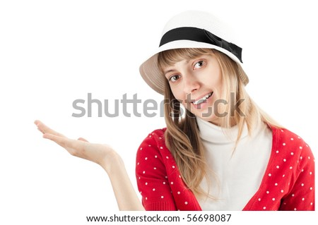 beautiful young woman in hat isolated on white background holding nothing on palm of her hand