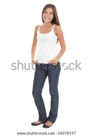 Beautiful young woman in her 20s standing in full body in casual wear isolated on white background . Mixed race Asian Caucasian girl. - stock photo