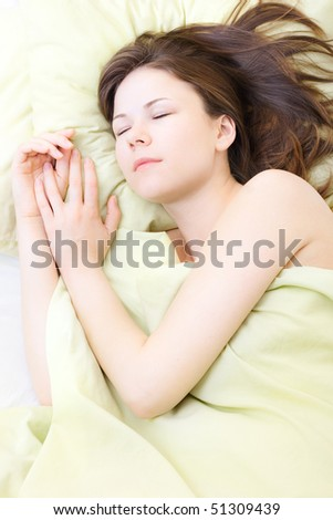 beautiful young woman in her sleep