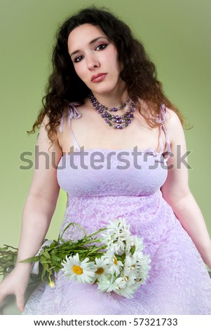 beautiful young woman in lacy lavender dress