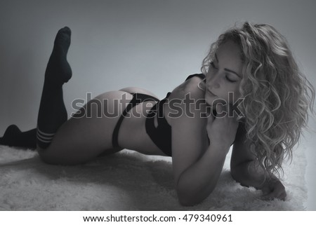 Beautiful young woman in lingery