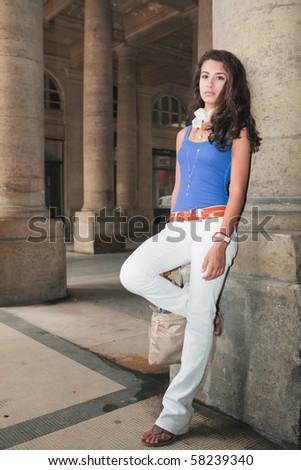 Beautiful Young Woman in Paris - stock photo