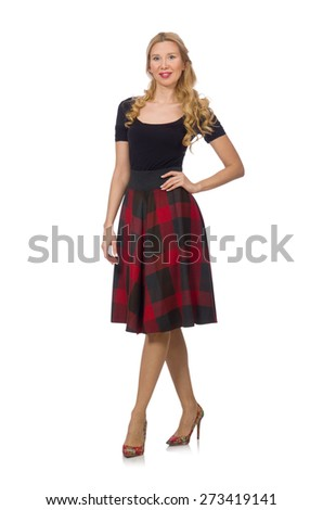Beautiful young woman in plaid dress isolated on white - stock photo