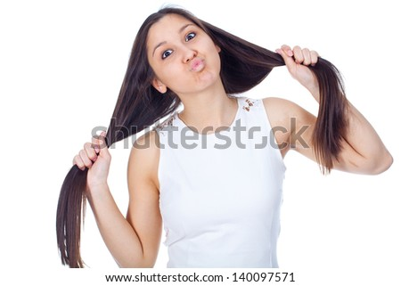 beautiful young woman in positive expressions - stock photo