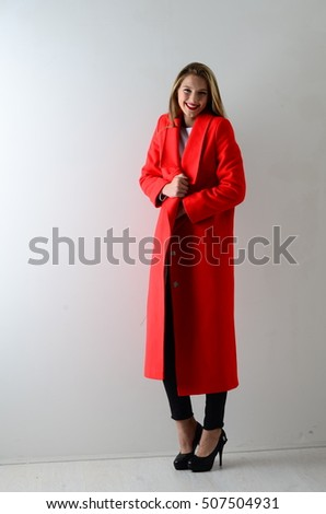 Beautiful Young Woman Red Coat Posing Stock Photo 507502876 ...
