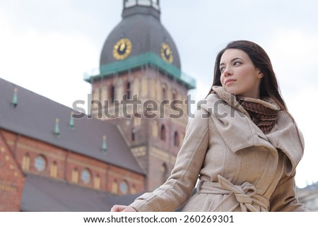 Beautiful young woman in Riga, Latvia - stock photo