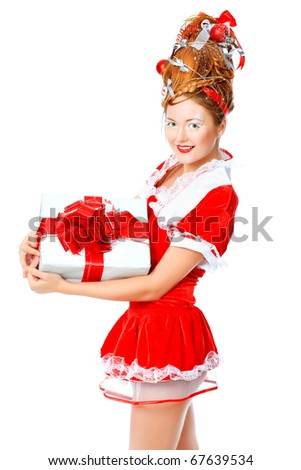 Beautiful young woman in Santa Claus clothes, isolated over white background.
