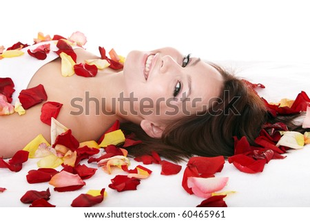 Beautiful young woman in spa. Health resort. - stock photo