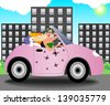 Beautiful young woman in sunglasses driving a convertible with a white cat and shopping bags. raster version, vector file also included - stock photo