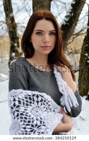 Beautiful young woman in the forest - stock photo