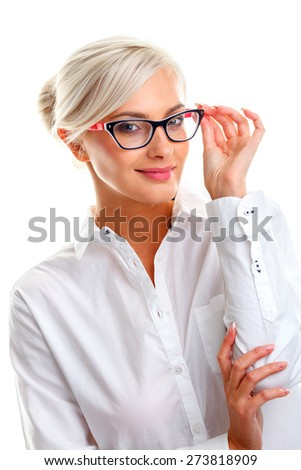 beautiful young woman in white glasses. Head and shoulders studio shot isolated on white. - stock photo