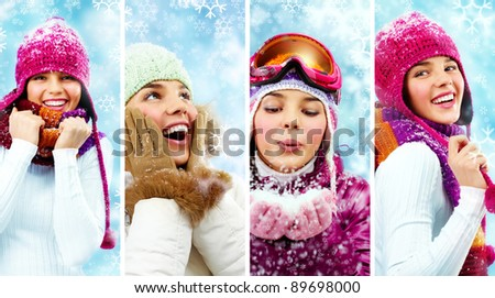 Beautiful young woman in winter clothes having fun - stock photo