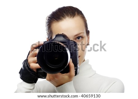 beautiful young woman is a photographer isolated on white - stock photo