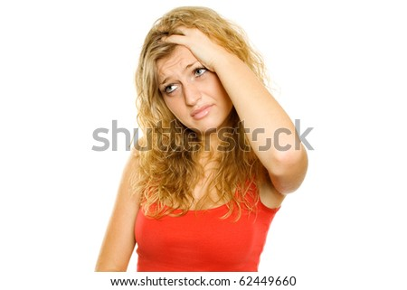 Beautiful young woman is unwell. Headaches. Lots of copyspace and room for text on this isolate - stock photo