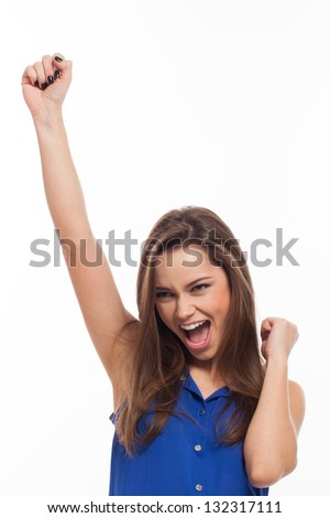 Beautiful young woman is very happy isolated over white background - stock photo