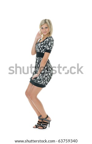 Beautiful young woman. Isolated on a white background.
